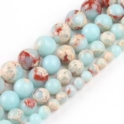 Redondo shoushan pedra azul snakeskin solta contas de pedra 4 6 8 10 12mm para jóias diy fazer pulseira encantos acessórios 15