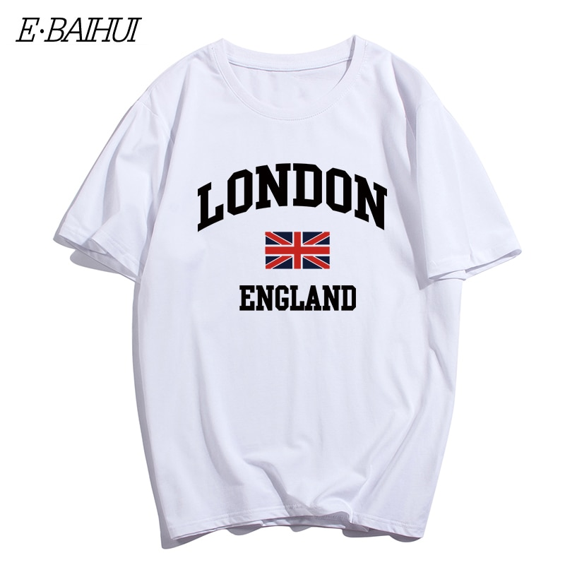 E-BAIHUI de marca para hombre, ropa para hombre, camiseta ajustada para hombre con estampado londinense, camisetas informales con diseño de patineta, camisetas para hombre, T-079