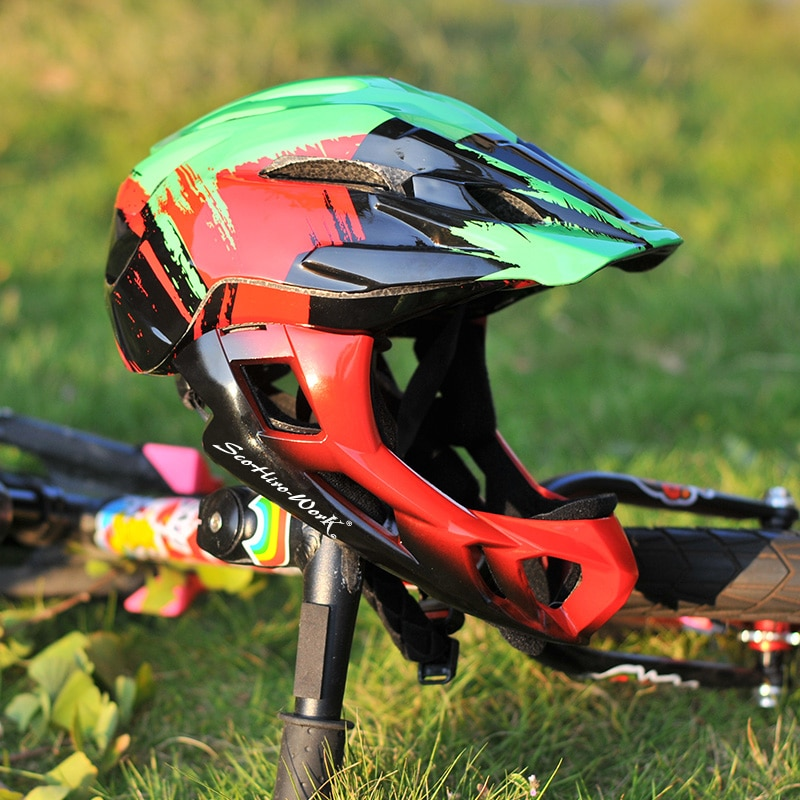 ScoHiro-Work bicicleta de cobertura completa de alta calidad, casco de bicicleta de equilibrio para chico, casco de seguridad DH extraíble