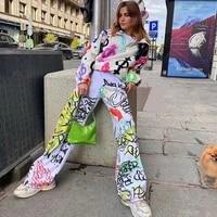 white anime graffiti pants hippie wide legs high waist loose aesthetic pants harajuku streetwear womens straight sweatpants
