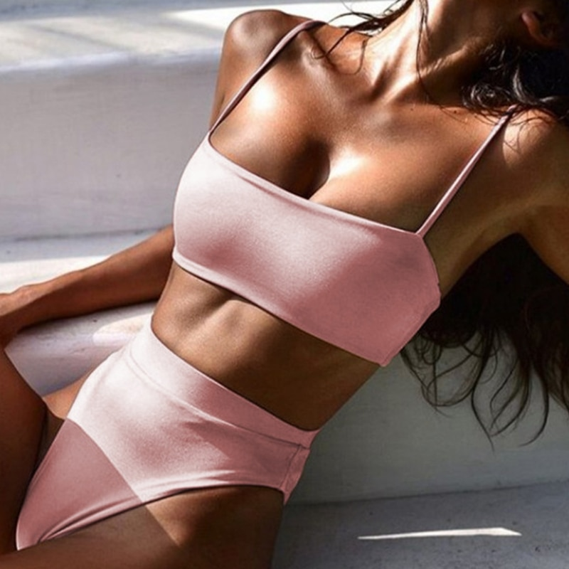 Womens Sexy 2 Piece Bikini Set Spaghetti Cami Strap Bandeau Swimsuit High Waisted Cheeky Thong Solid Color Bathing Suit missomo women thong simple and sexy hollow solid color base strap design matching thong ladies