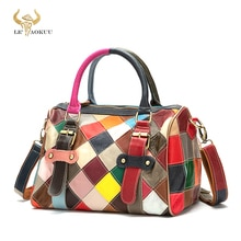 New Colorful Real Leather Famous Luxury Patchwork Large Shopper Purse Handbag Shoulder Bag Women Des