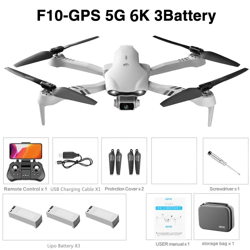 F10 Folding GPS Drone 6K Aerial Photography Dual Intelligent Positioning Return Home Quadcopter Remote Control Aircraft Dropship