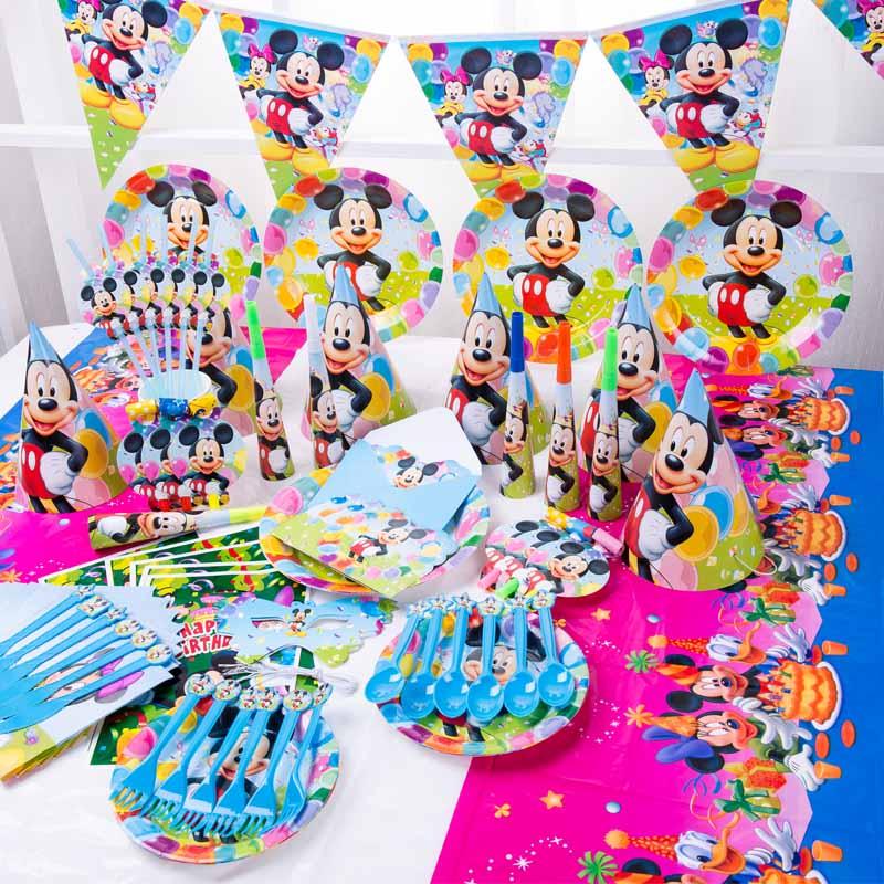 Disney-decoraciones para fiesta de cumpleaños de niños, vasos de papel, plato, vajilla desechable, color rojo, Mickey Mouse