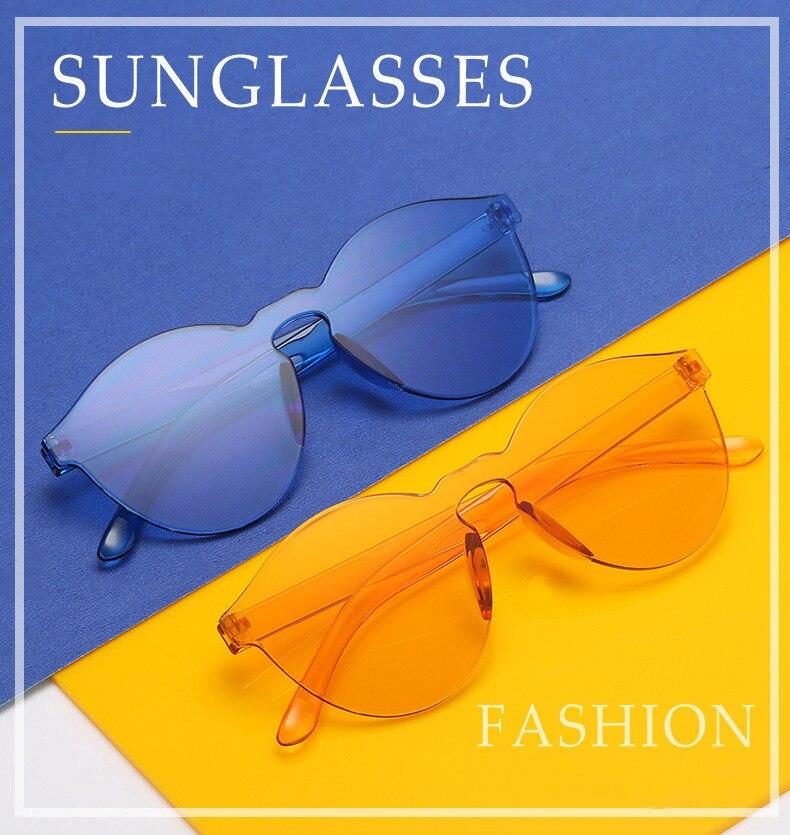 Sunglasses Trendy Candy Color Universal Summer Transparent Rimless Round Plastic UV400 Lens Sunglass