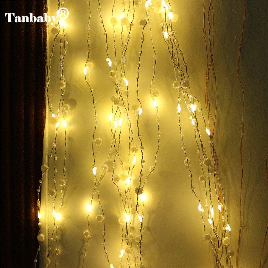 Guirnalda led cadena luz hielo 2M 20LEDS perla lámpara colgante de árbol flash para Navidad, linterna LED decoraciones