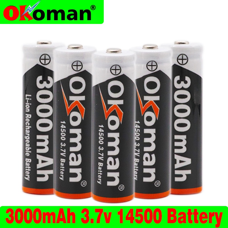 14500 batteria 3.7V 3000mAh 14500 batteria ricaricabile agli ioni di litio per torcia a LED batteria accumulatore batteria spedizione gratuita