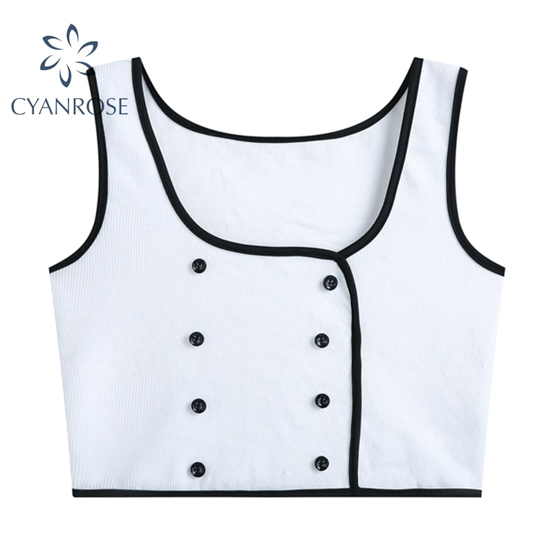 White Square Collar Crop Tanks Tops Women Double Breasted Sexy Slim Camisole Lady Party Club Bar Str