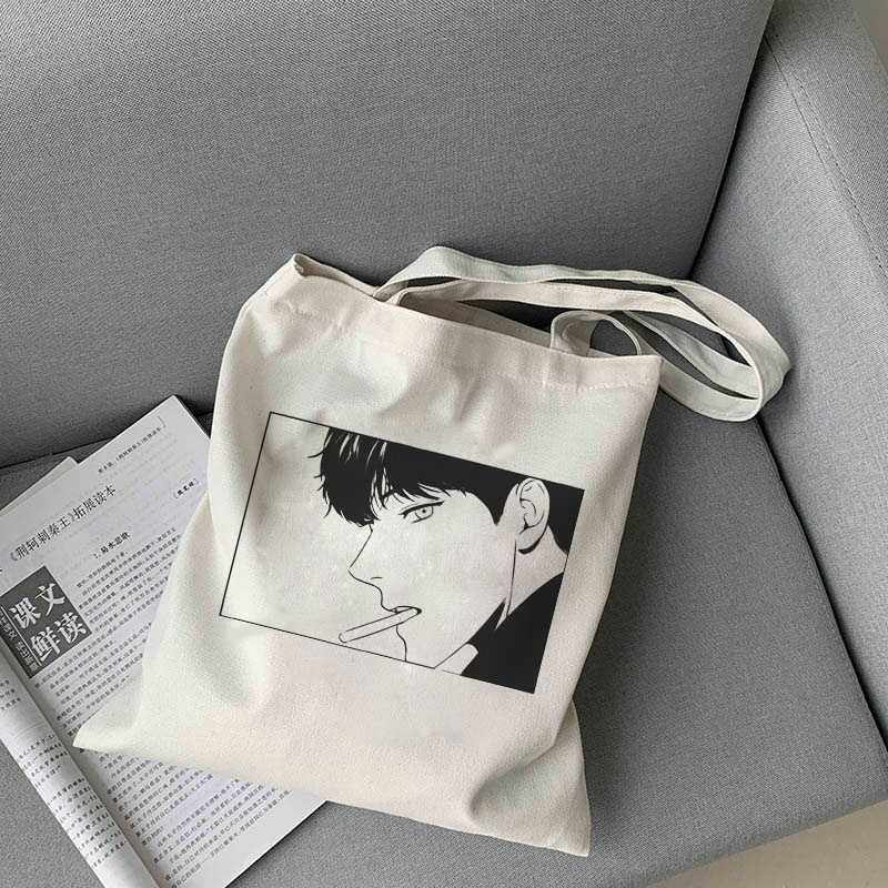 2020 Korea Ulzzang Bj Alex Print Female Shopping Canvas Tote Casual Large-capacity Cartoon Women Bag Harajuku Punk Shoulder Bags