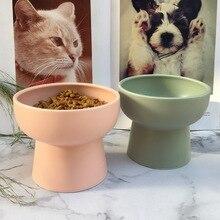 Bol en céramique pour chats danimaux   Bol classique de protection pour la santé cervicale, distributeur deau de Base haute, bols dalimentation pour chiots chaton