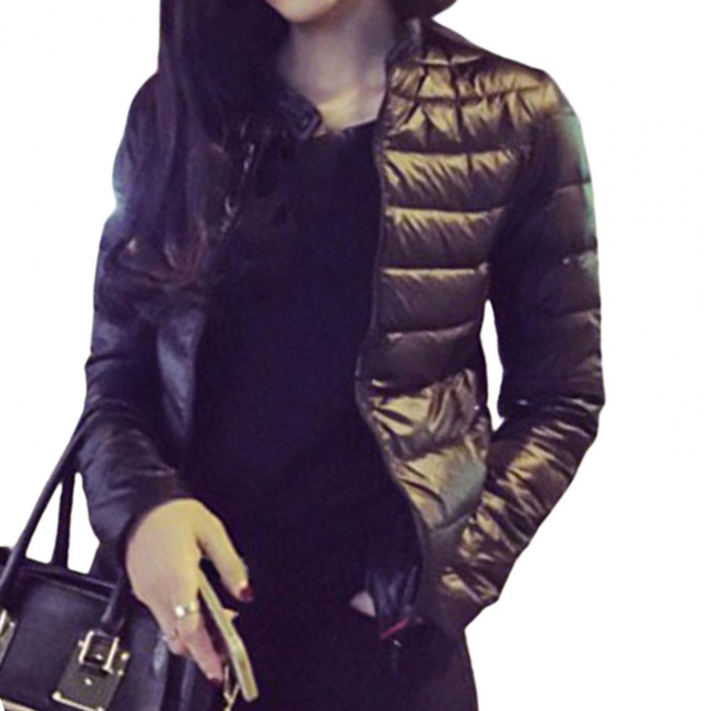 Women Fashion Bubble Coat Winter Windproof Lightweight Solid Slim Short Warm Jacket Basic Jacket Top