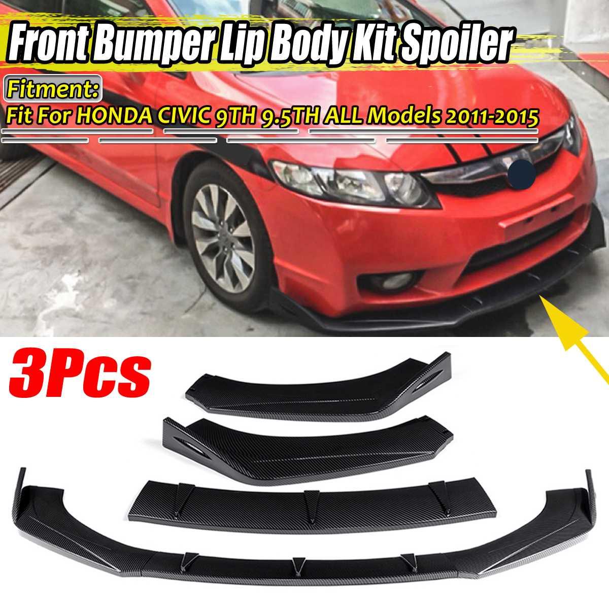 3 Pieces Universal Car Front Bumper Splitter Lip Diffuser Spoiler For HONDA For Civic For ACCORD 6TH 9TH 9.5TH 10TH EK EG S2000