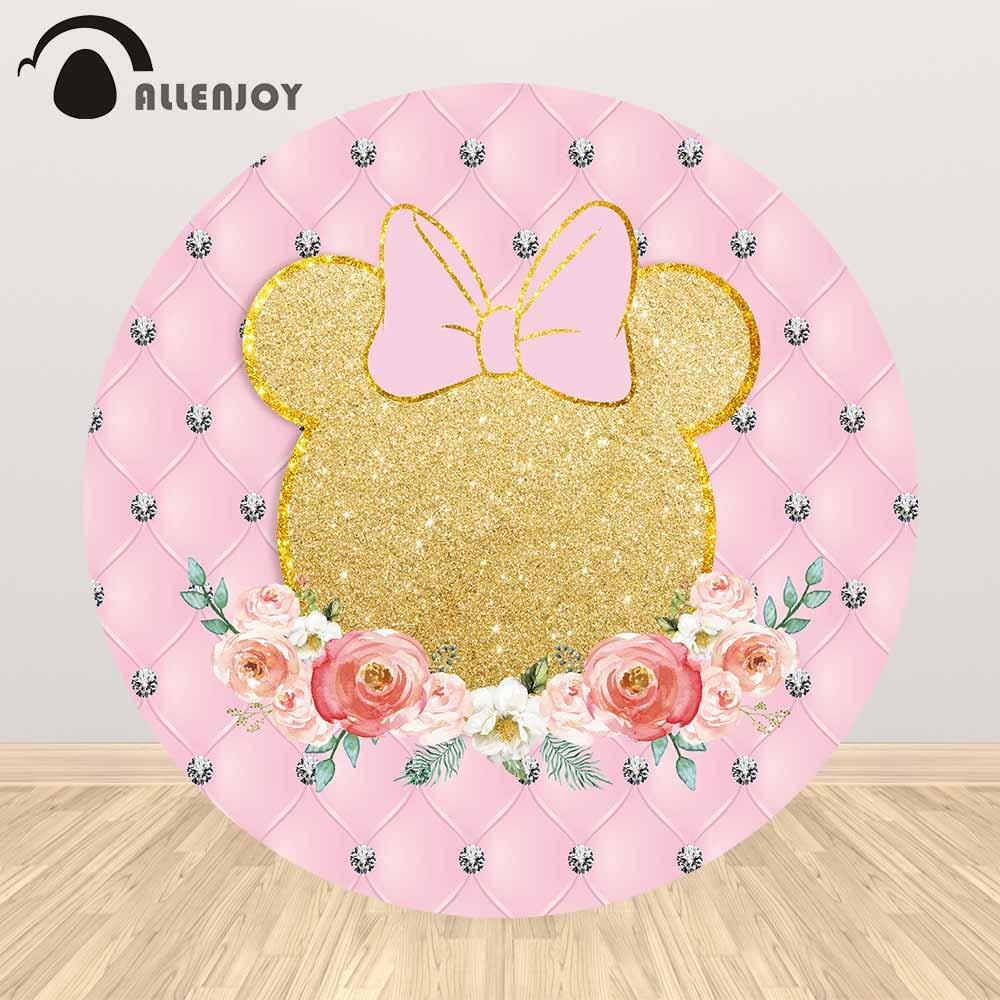 Allenjoy-غطاء خلفية دائري لصور كرتونية ، غطاء ماسي وردي ، غطاء رأس زهرة ، مفرش مائدة عيد ميلاد للأطفال