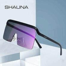 SHAUNA  Oversize Half Frame Sunglasses Women Fashion Goggle Sun Glasses Men UV400