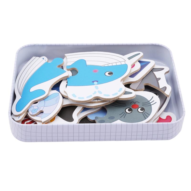 Puzzles cadeau éducatif bébé jouets boîte de fer infantile début de la tête véhicule/Fruit/Animal ensemble paire carte Cognitive formation Puzzle