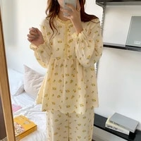 sweet ruffles girls printed florals color hit korean 2021 fashion plus sleepwear warm cute home clothes pajamas sets