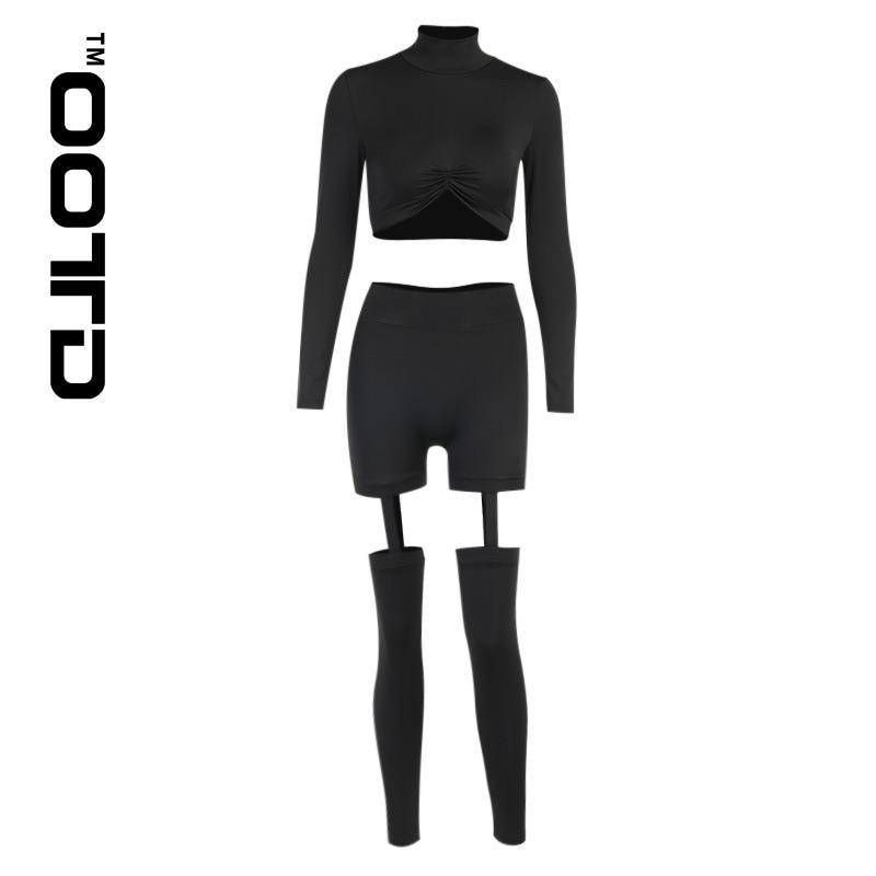 OOTD 2021 новый осенний Новый сексуальный спортивный костюм для отдыха йога с длинными рукавами брюки костюм сексуальные колготки