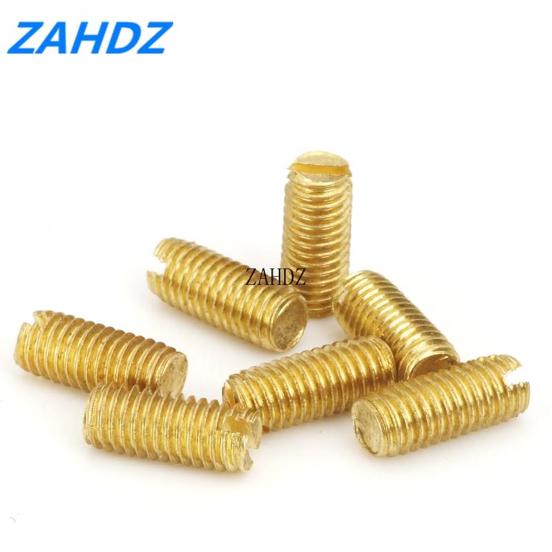 20 piezas DIN551 M2 M2.5 M3 M4 sin cabeza tornillos larvas pernos de apriete latón set ranurado tornillos con punta plana