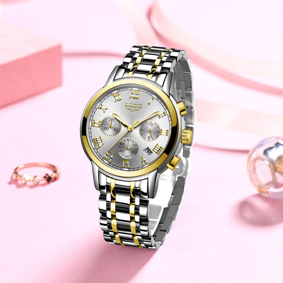 2020 LIGE Fashion Women Watches Ladies Top Brand luxury Waterproof Gold Quartz Watch Women Stainless Steel Date Wear Gift Clock enlarge