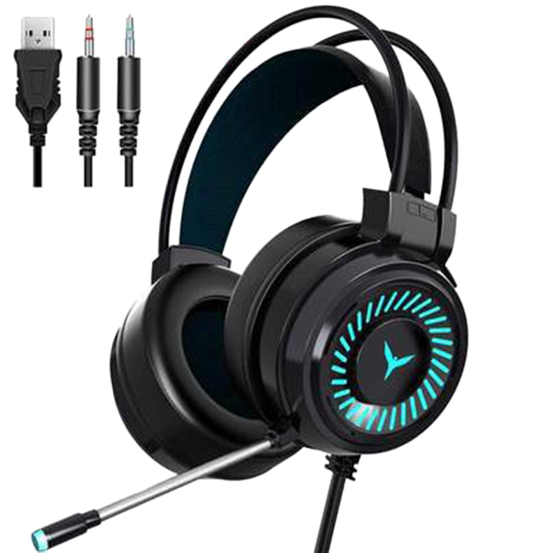Gamer Headsets Gaming Headphones with Mic Surround Sound Stereo USB Colourful Light Wired Earphones for PC Laptop music gaming headset surround sound with mic earphones usb 7 1