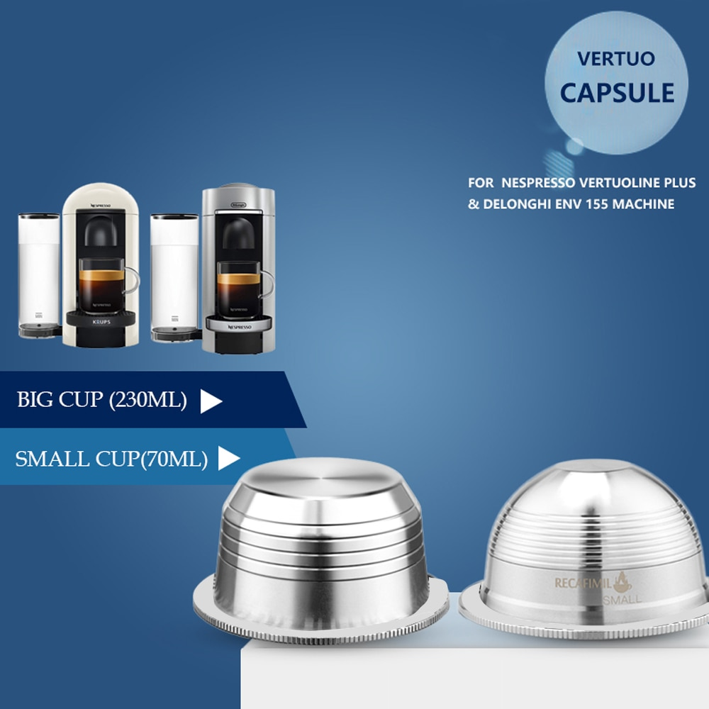 ICafilasSVIP Stianless Steel Reusable Vertuoline Capsule  For Nespresso Vertuo Coffee Filter Espresso For Vertuo Plus