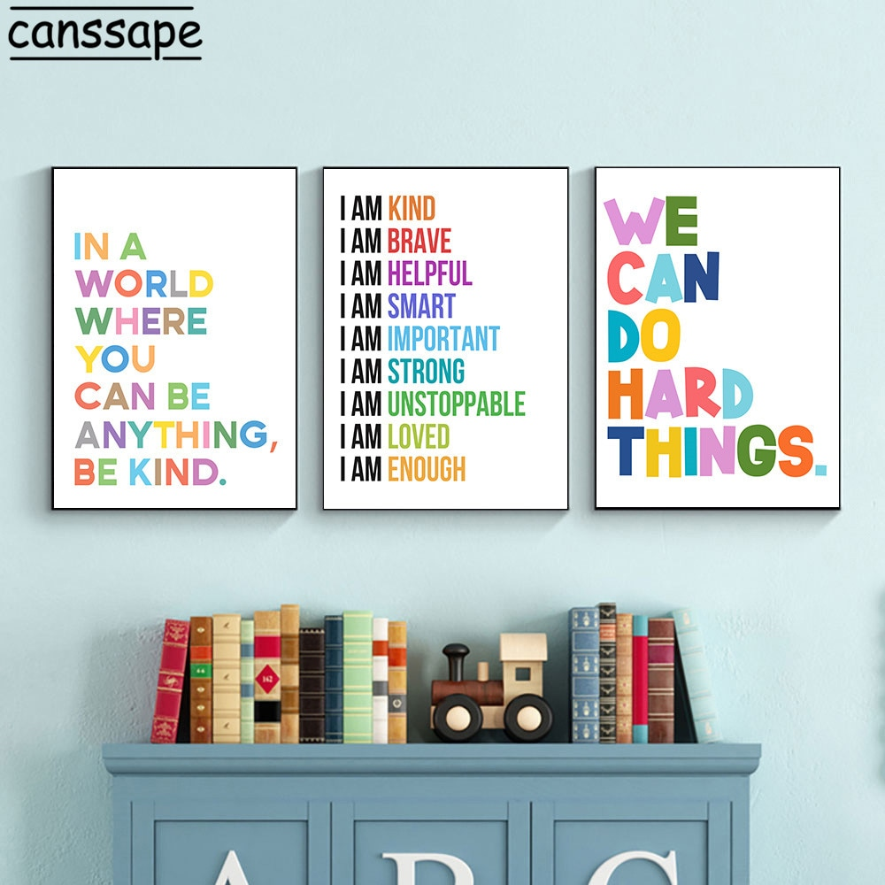 Color ABC abecedario cuadro sobre lienzo para pared guardería carteles educativos e...