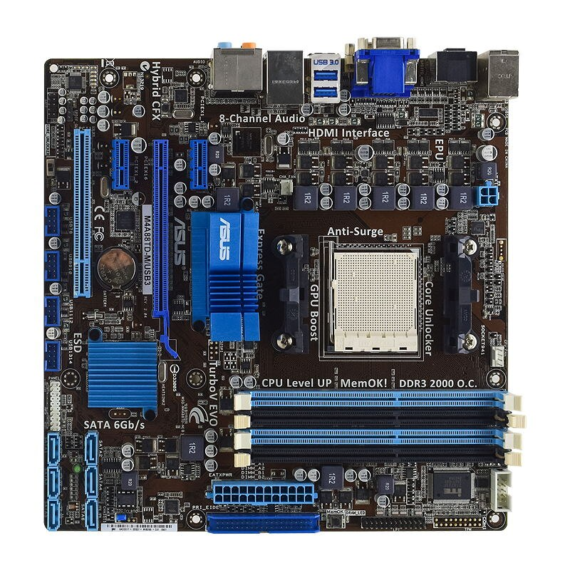 ASUS M4A88TD-M/USB3 Socket AM3 AMD 880G Original PC Motherboard DDR3 16GB Phenom II/Athlon II CPU  SATA3 USB3.0 HDMI PCI-E X16