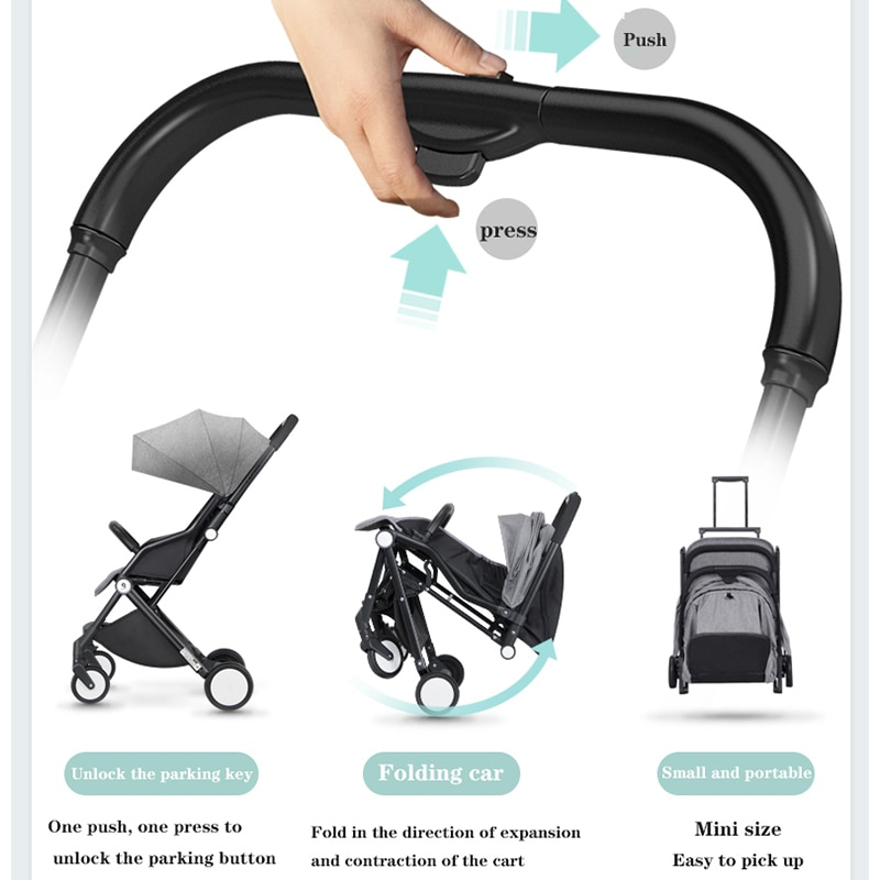 Baby stroller can sit and lie ultra-light portable one-hand retractable one-key folding shock-absorbing baby stroller enlarge