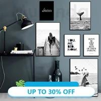 Peinture sur toile  affiche en noir et blanc  mode moderne  Art mural  surf femme  lettres  image nordique imprimee  decor de maison  salon