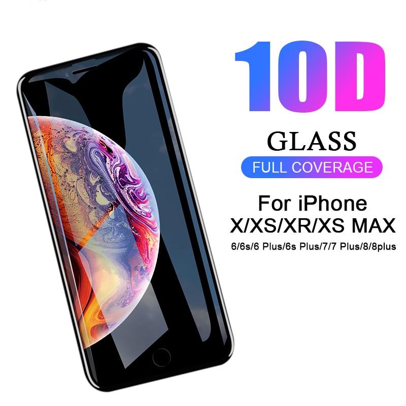 10D полное Gule закаленное стекло для iPhone 6S 7 8 Plus стекло для iPhone XR XS Max X 10 защитное стекло Iphoen SX Max RX Glas пленка