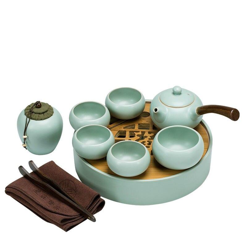Ru Ware طقم شاي المنزل الكونغ فو السيراميك خمر Ru-إبريق شاي من البورسيلين فنجان شاي صغير مجموعة صينية الشاي للضيوف مكتب براد شاي مجموعة