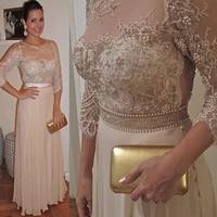chiffon mother the bride dress 34 sleeves pearls wedding mother clothes pearls appliques women evening party vestidos de novia