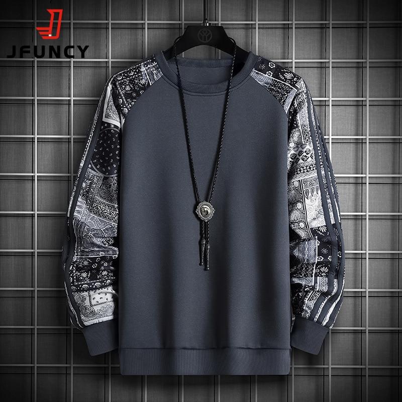 Свитшот JFUNCY мужской Камуфляжный, худи с длинным рукавом, пуловер оверсайз с круглым вырезом, уличная одежда, осень 2021
