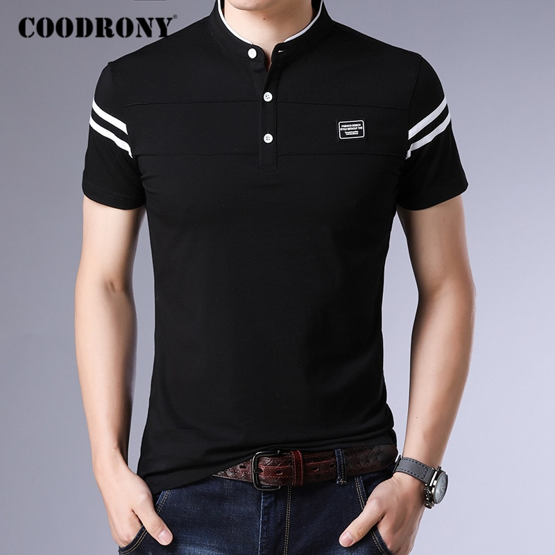 COODRONY Brand Summer Short Sleeve T Shirt Men Cotton Tee Shirt Homme Streetwear Fashion Stand Collar T-Shirt Men Clothes C5096S