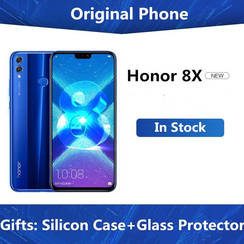 "DHL entrega rápida Honor 8X 4G LTE teléfono móvil Kirin 710 Android 8,1 6,5 ""FHD 2340X1080 6gb ram 128gb rom huella digital"