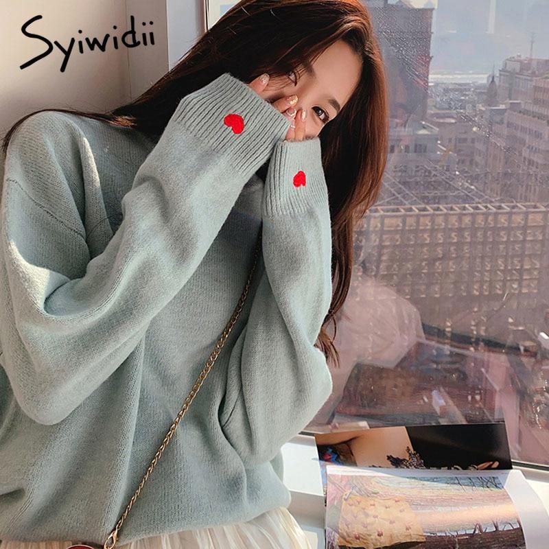 Jersey con bordado de corazón, pulóvers sólidos para mujer, ropa de invierno tejida con cuello redondo, camisa harajuku para mujer, suéter de gran tamaño, top coreano