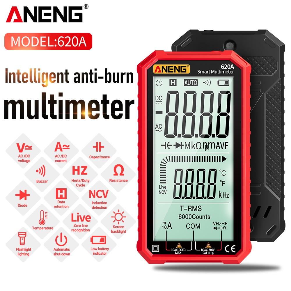 ANENG-مقياس متعدد رقمي ذكي 620A ، أجهزة اختبار الترانزستور ، عد 6000 ، RMS ، مقياس السعة الكهربائية التلقائي ، مقاومة درجات الحرارة