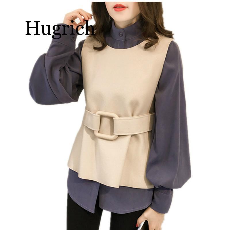 Blusa para mujer M-4xl Blusas Kimino con chaleco y cinturón de talla grande camisa de manga larga de otoño Oficina Coreana elegantes Blusas azul 2019