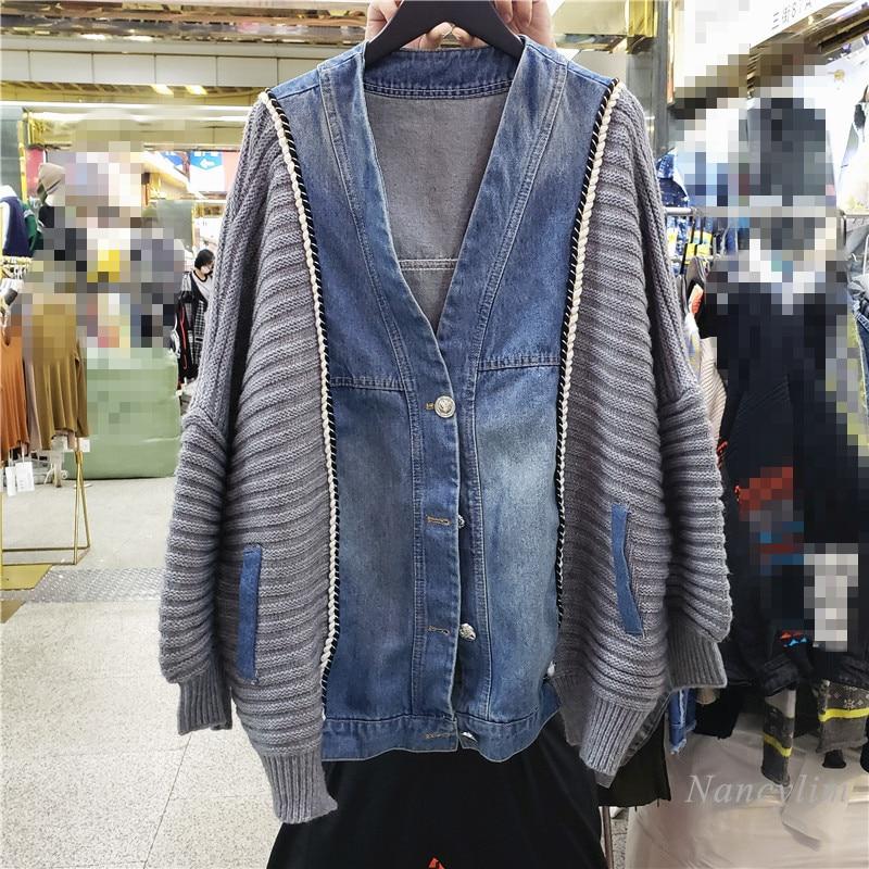 Knitted Patchwork Denim Coat Women's Korean Style Loose Cardigan Femme 2021 Autumn Streetwear Outwears  Top enlarge