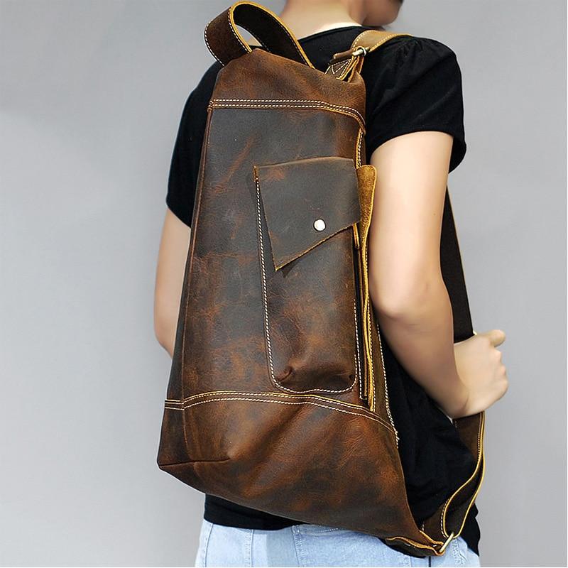 MAHEU-حقيبة ظهر جلدية أصلية مميزة للرجال ، حقيبة سفر من الجلد كريزي هورس ، حقيبة كمبيوتر محمول