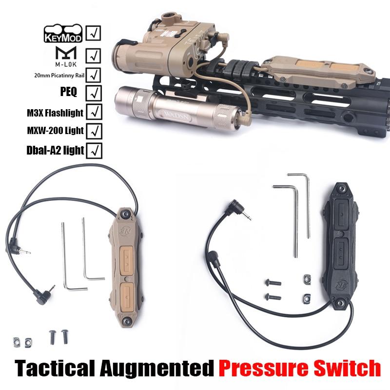 Tático interruptor de pressão aumentada softair interruptor duplo apto M-LOK/keymod/20mm ferroviário para peq15/m3x/Dbal-A2 wmx200 ex419 ne04014
