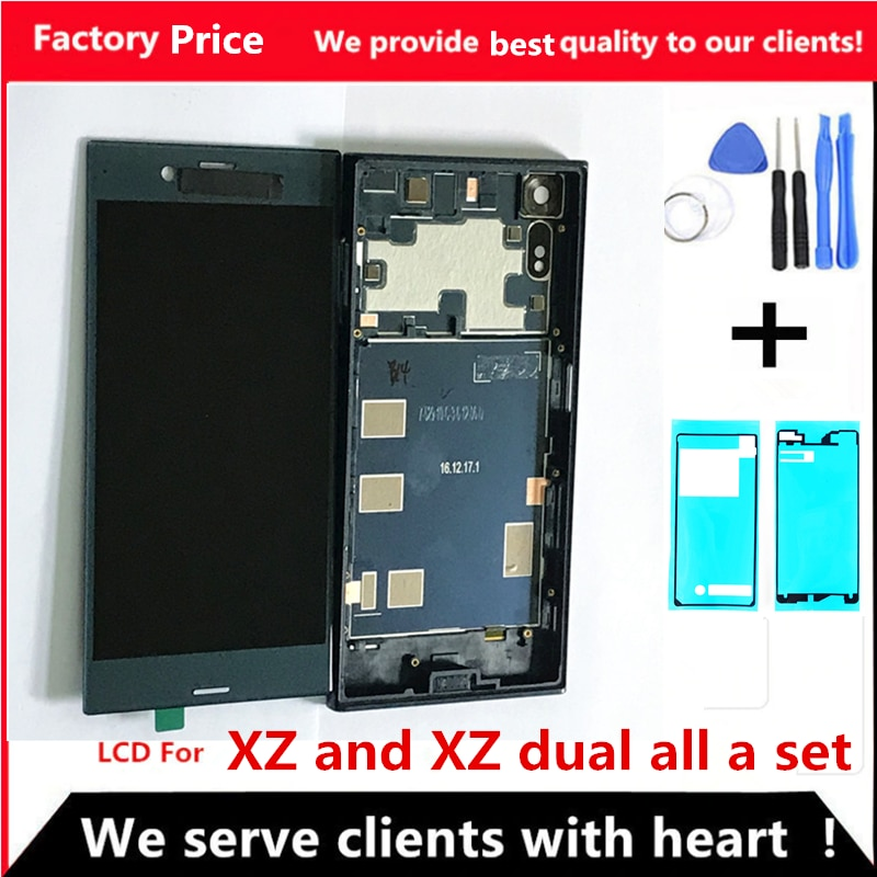 LCD para SONY Xperia XZ Display F8331 F8332 pantalla táctil digitalizador piezas de repuesto para SONY XZ LCD pantalla marco contraportada