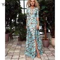 yeinchy fashion women summer v neck half sleeve print dress with belt beach maxi floor length dress fm6081