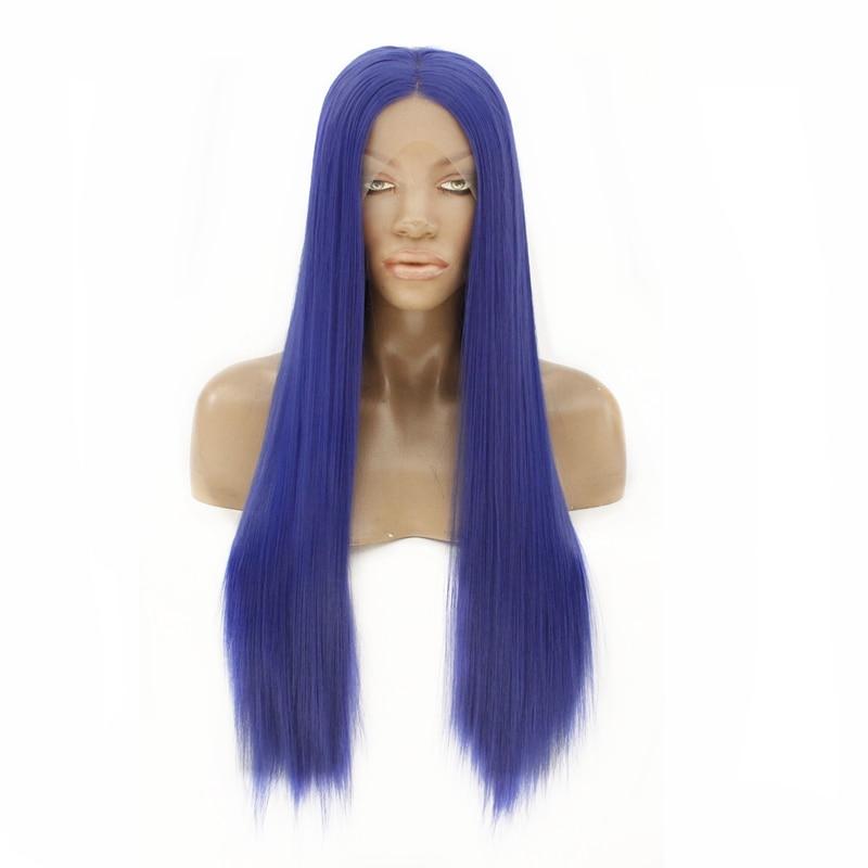 Cor azul peruca dianteira do laço sintético tipo reto resistente ao calor fibra celebridade menina cosplay festa peruca