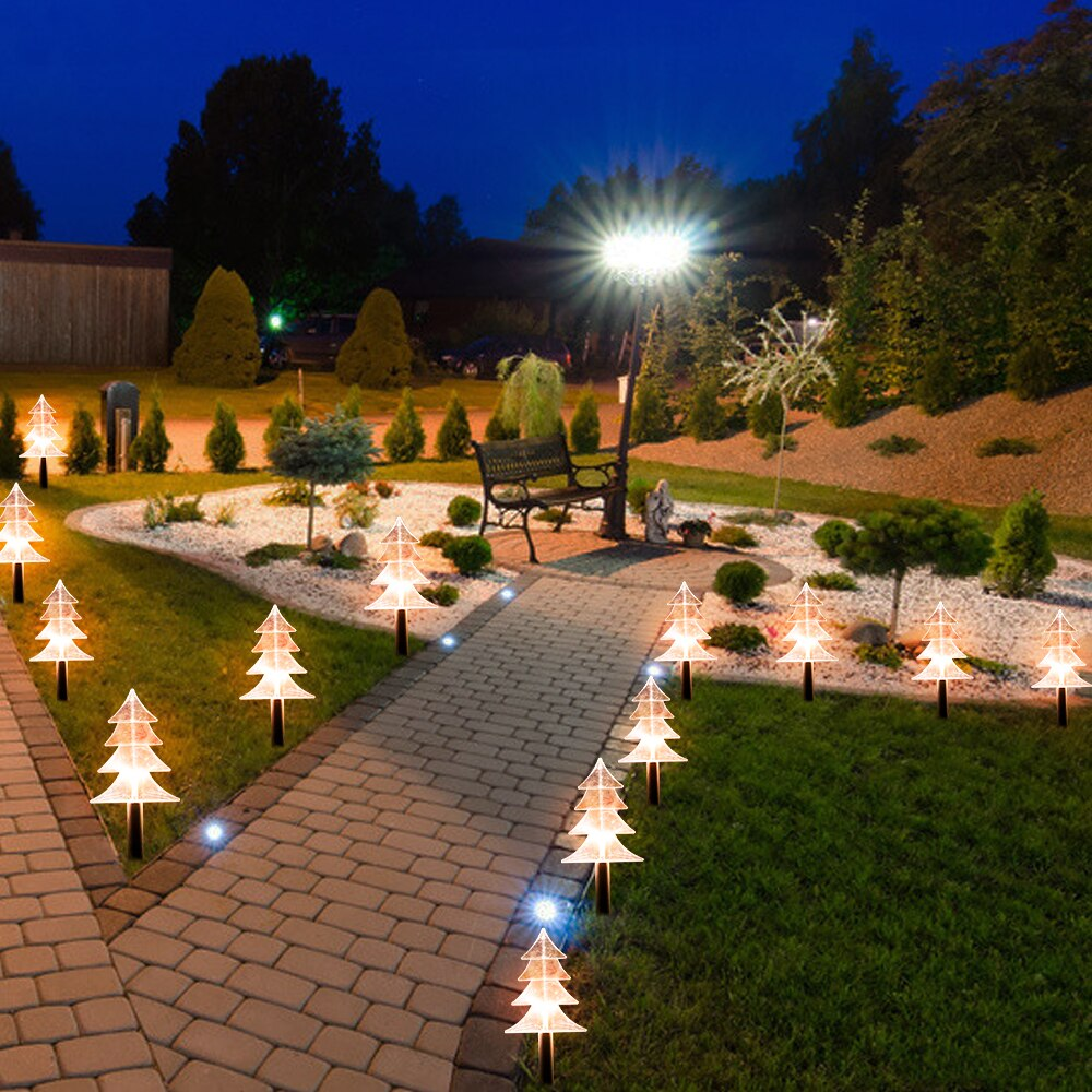 Рождественские солнечные противоугонные фонари, солнечные садовые фонари, уличные водонепроницаемые солнечные фонари для дорожек, Рождес...