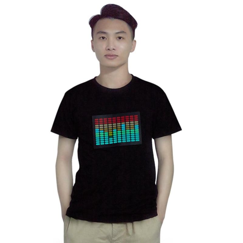 2x hombres sonido activado Led de camiseta luz intermitente de Disco de Rock ecualizador de manga corta Led T camisa XXL y XL