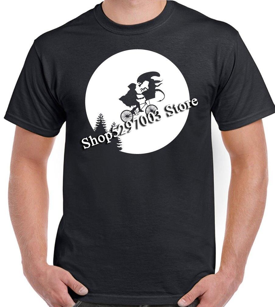 ¿Alienígena E.T? Parodia para hombre divertida camiseta bicicleta Luna Mash Up camiseta de calidad superior