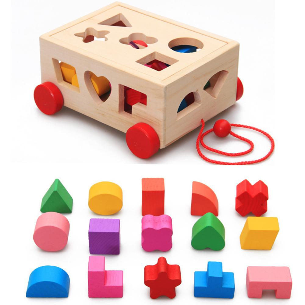 Enfants forme trieur jouet en bois tirer le long de la voiture forme trieur correspondant blocs boîte enfants Intelligence jouets éducatifs pour les enfants