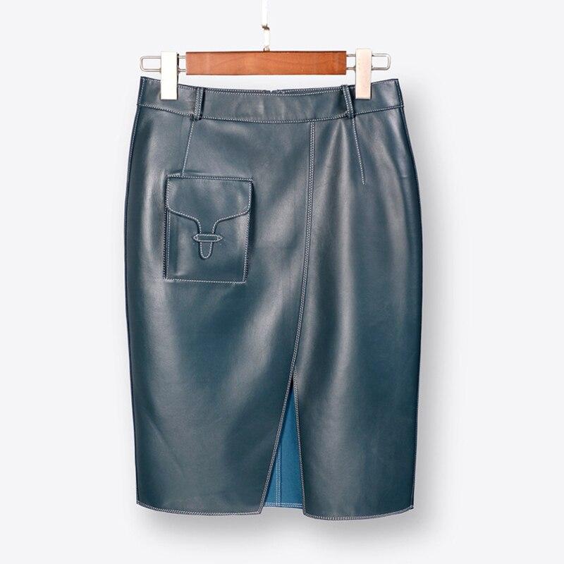 Spring Autumn New Formal Real Leather Skirt Women's Mid Length High Waist Split Buttock Sheep Skin One Step Black Fashion Skirt