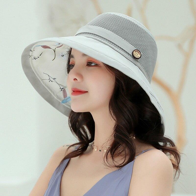 Verano costura hebilla de madera sombrero para sol de mujer doble Floral pequeño fresco pescador literario Cap Girl Travel Beach Street Visor